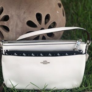 Coach Off-White Leather Crossbody with Pouch